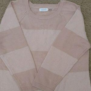 Calvin Klein Blush Two -Tone Long Sweater.